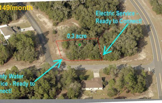 $149/month —> 0.3 Acre Corner Lot with UTILITIES !! – Citrus Springs